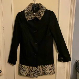 New H&M wool with faux fur leopard trim coat lined